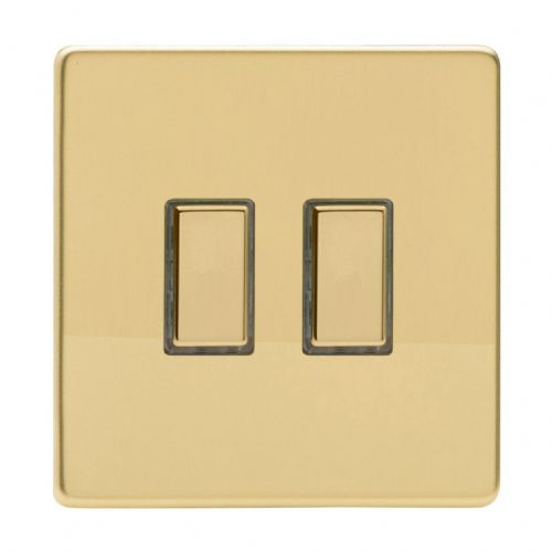 Varilight JDVES002S Screwless Polished Brass 2 Gang Touch Dimming Slave (use with V-Pro Master)